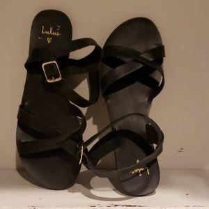 Lulus black leather flat sandal